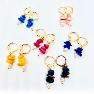 pendientes perla piedra de colores
